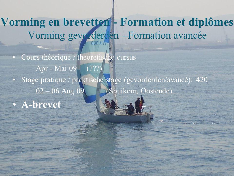 Vorming en brevetten - Formation et diplômes Vorming gevorderden –Formation avancée