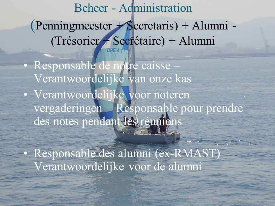 Beheer - Administration (Penningmeester + Secretaris) + Alumni - (Trésorier + Secrétaire) + Alumni