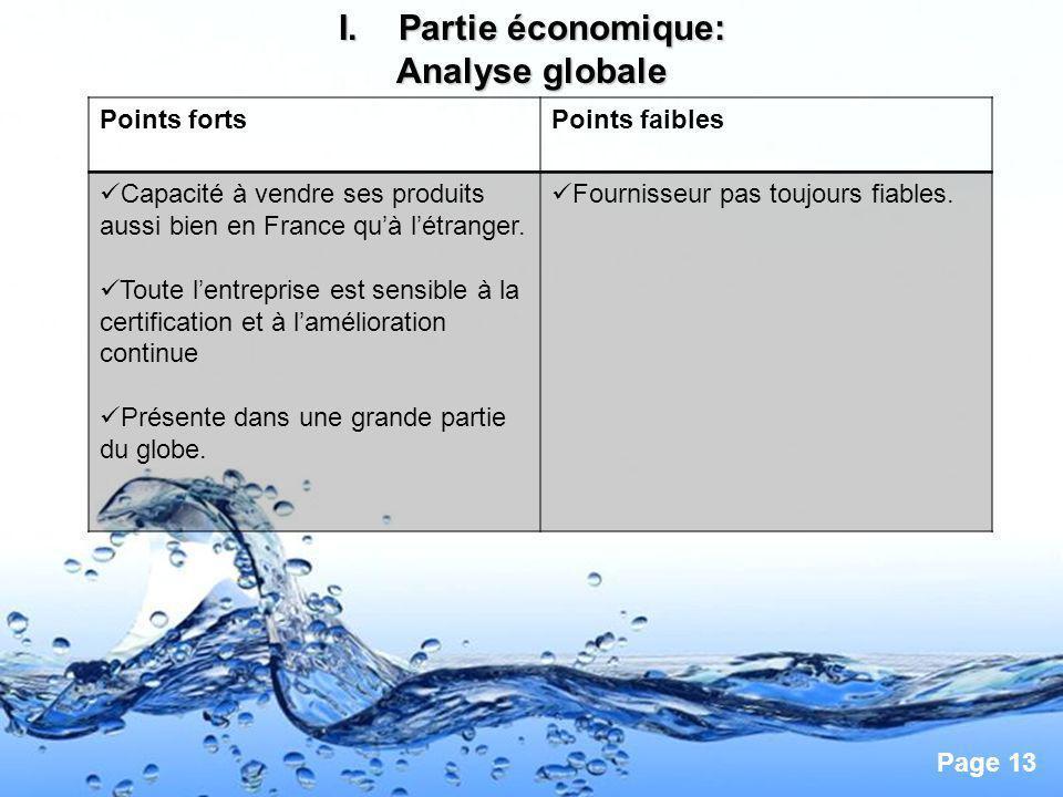 Partie économique: Analyse globale