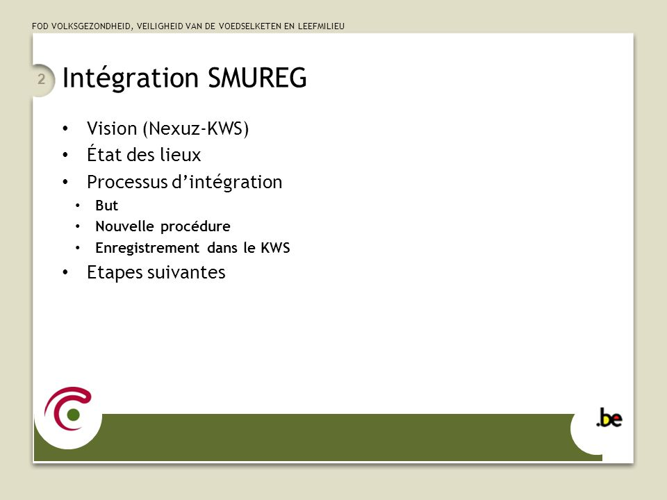 Intégration SMUREG Vision (Nexuz-KWS) État des lieux