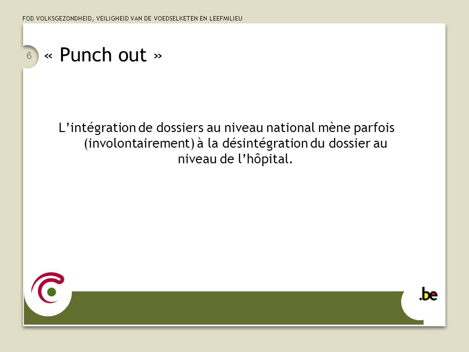 « Punch out » L'intégration de dossiers au niveau national mène parfois (involontairement) à la désintégration du dossier au niveau de l'hôpital.