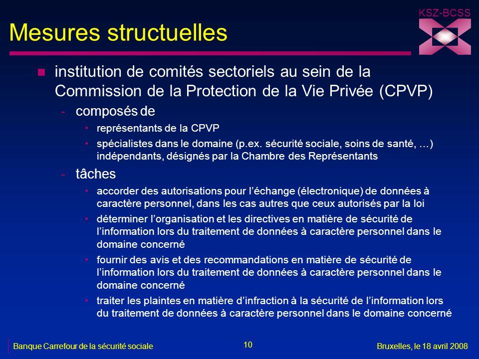 Mesures structuelles institution de comités sectoriels au sein de la Commission de la Protection de la Vie Privée (CPVP)