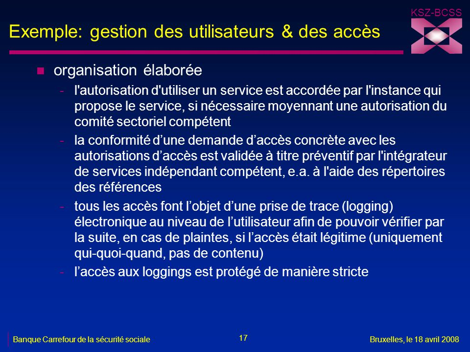 Exemple: gestion des utilisateurs & des accès