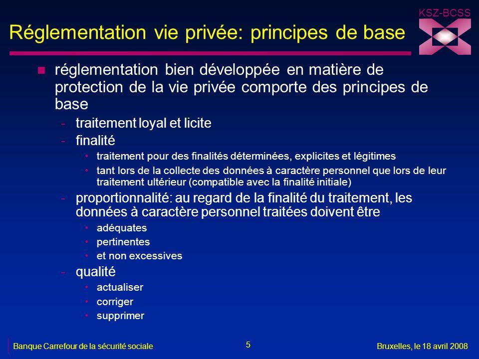 Réglementation vie privée: principes de base