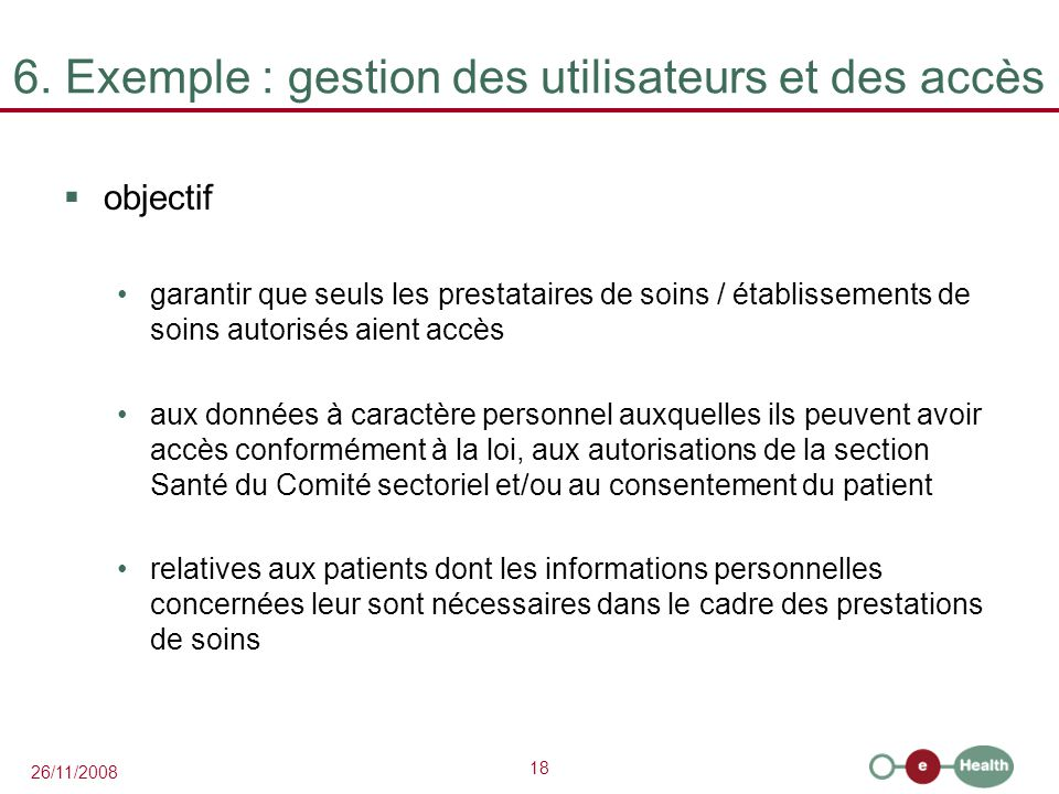 6. Exemple : gestion des utilisateurs et des accès