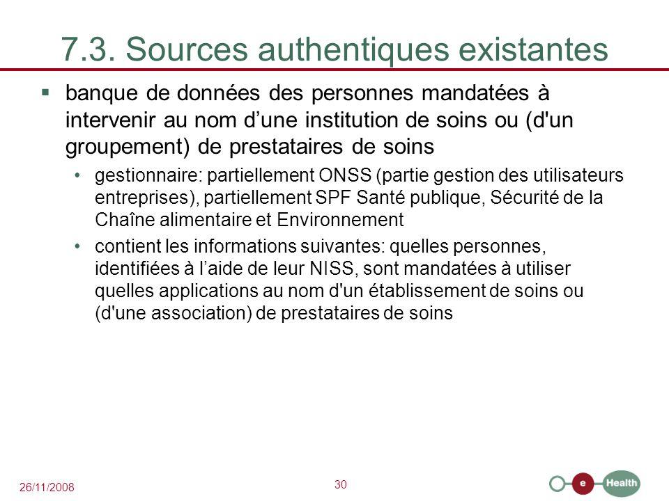 7.3. Sources authentiques existantes