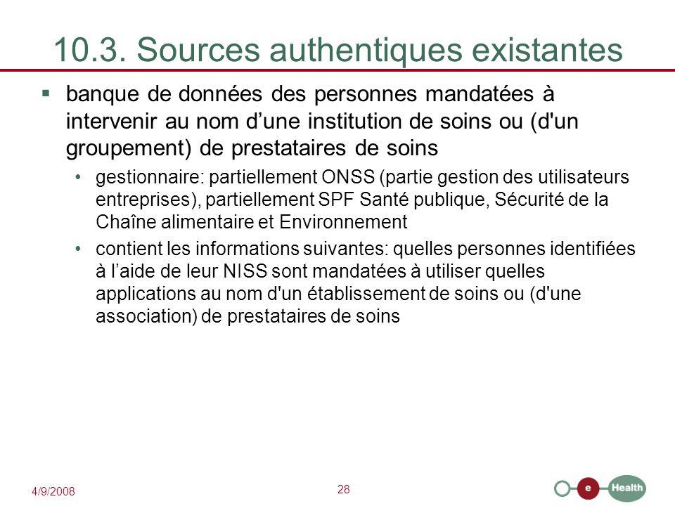 10.3. Sources authentiques existantes
