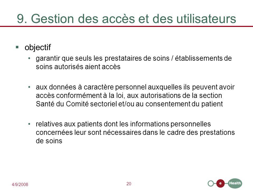 9. Gestion des accès et des utilisateurs