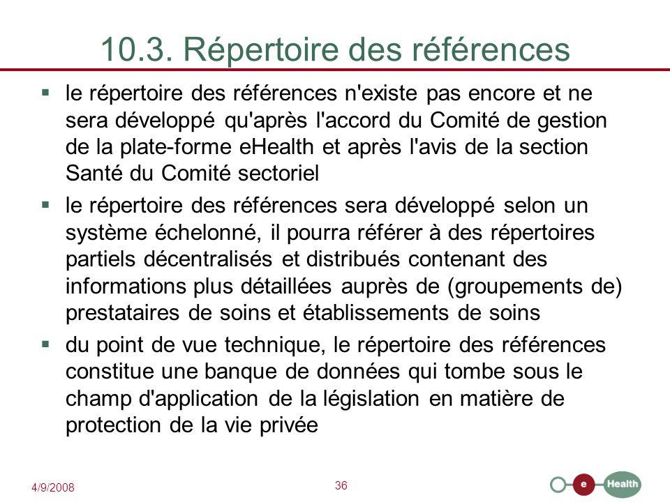 10.3. Répertoire des références
