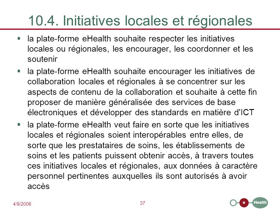 10.4. Initiatives locales et régionales