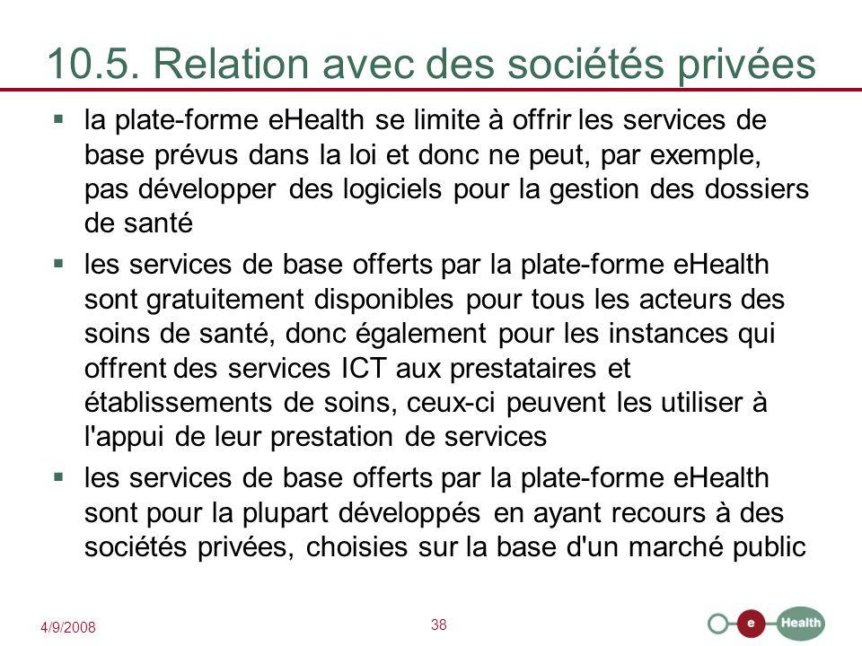 10.5. Relation avec des sociétés privées