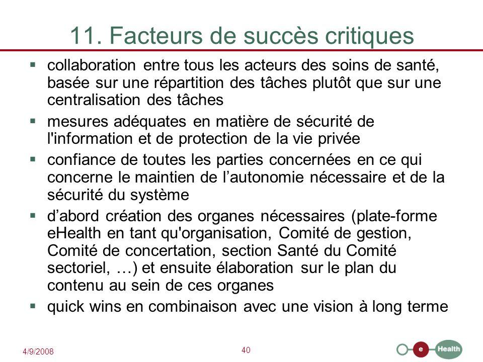 11. Facteurs de succès critiques