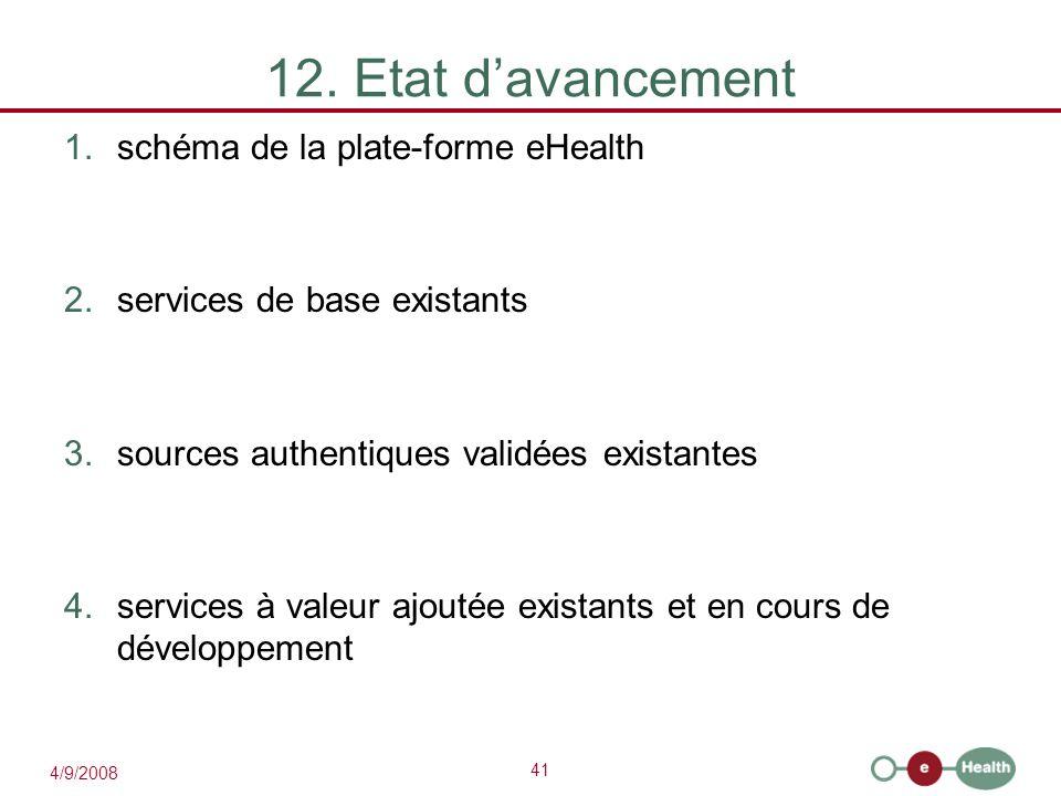12. Etat d'avancement schéma de la plate-forme eHealth