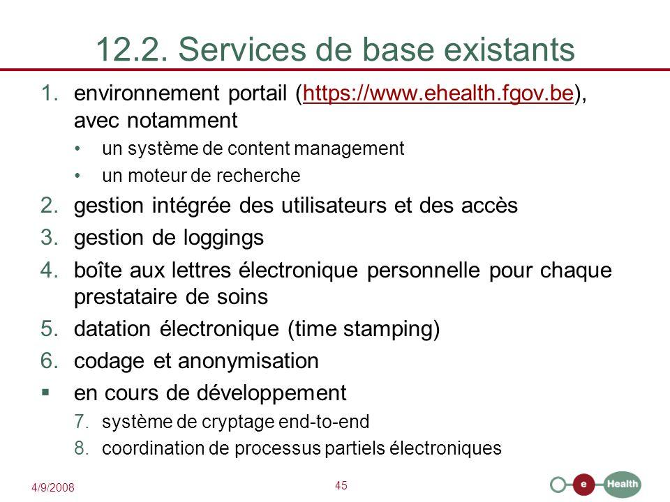 12.2. Services de base existants