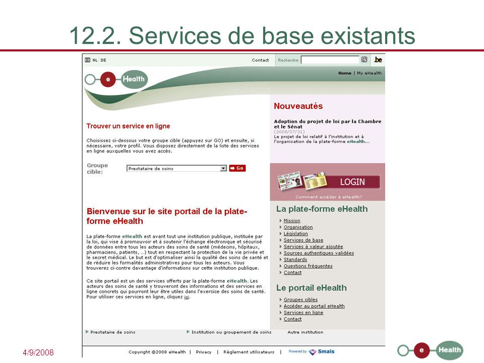 12.2. Services de base existants