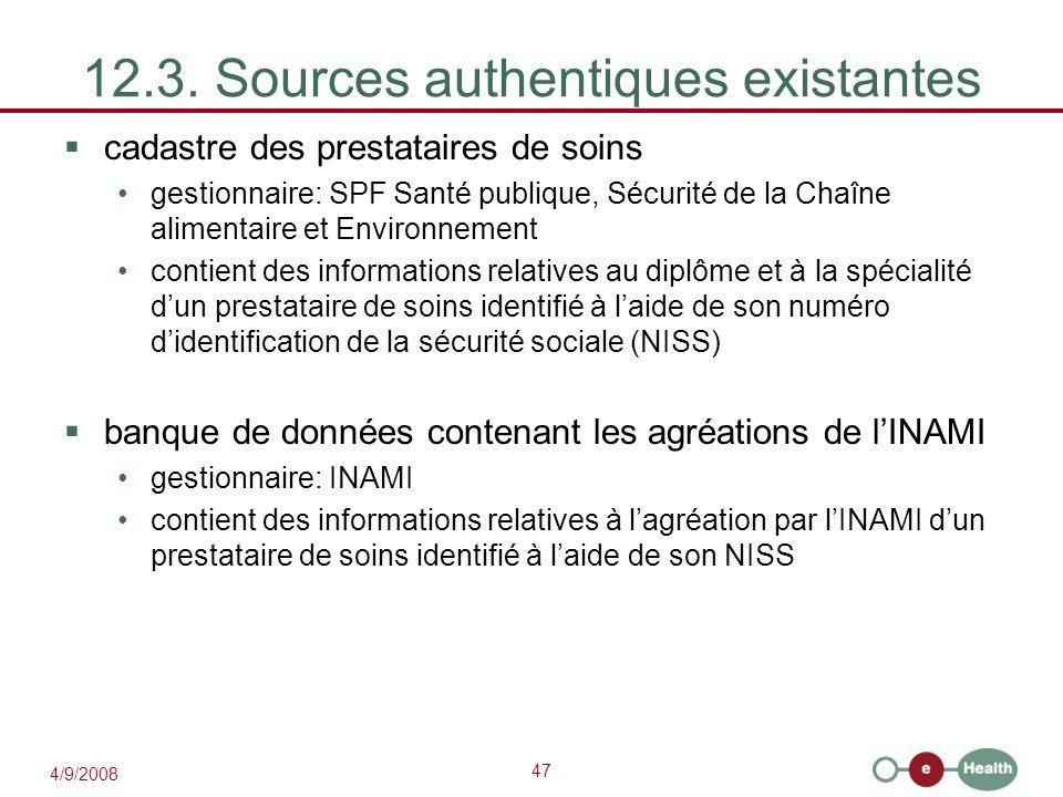 12.3. Sources authentiques existantes