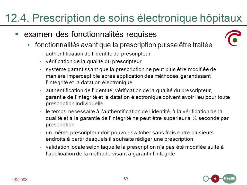 12.4. Prescription de soins électronique hôpitaux