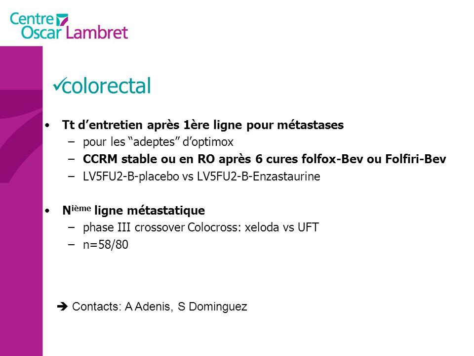 colorectal Tt d'entretien après 1ère ligne pour métastases