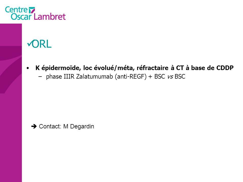 ORL K épidermoïde, loc évolué/méta, réfractaire à CT à base de CDDP