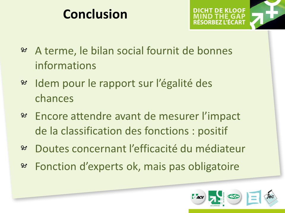 Conclusion A terme, le bilan social fournit de bonnes informations