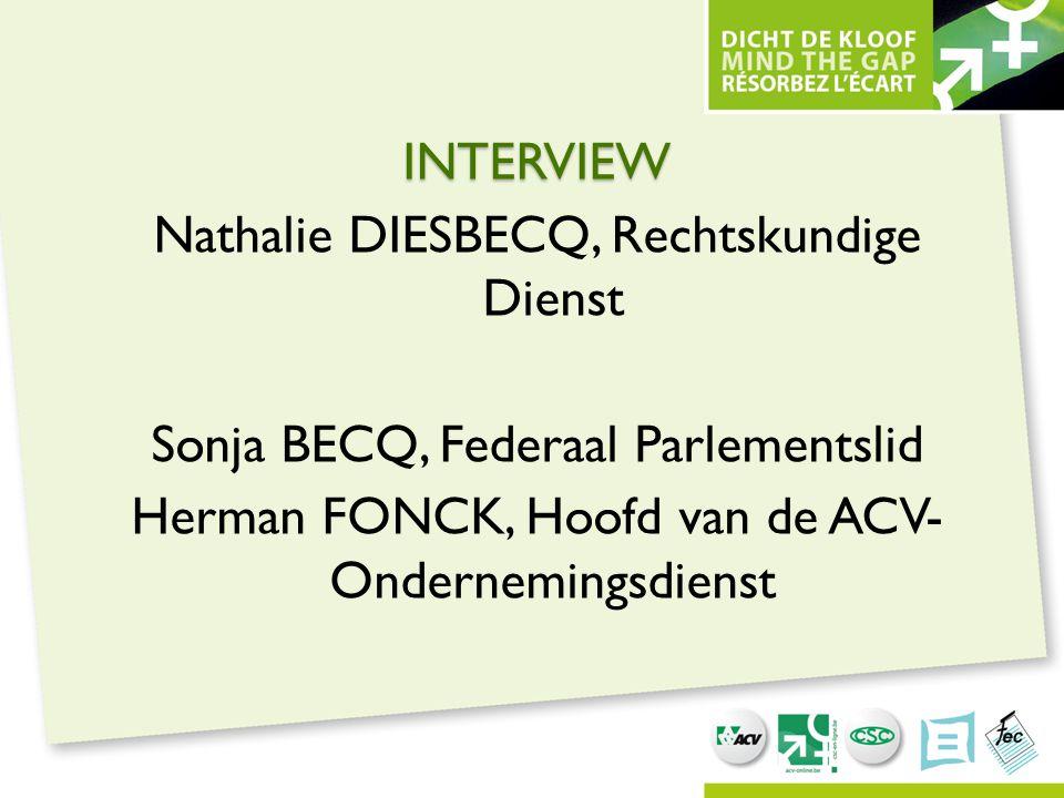 INTERVIEW Nathalie Diesbecq, Rechtskundige Dienst Sonja Becq, Federaal Parlementslid Herman Fonck, Hoofd van de ACV- Ondernemingsdienst