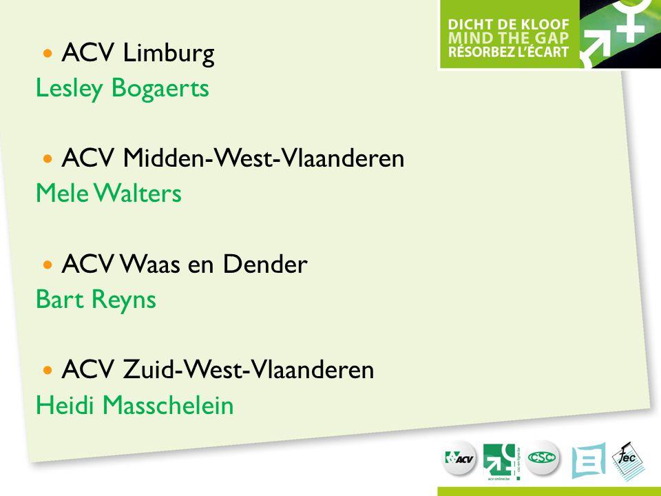 ACV Limburg Lesley Bogaerts. ACV Midden-West-Vlaanderen. Mele Walters. ACV Waas en Dender. Bart Reyns.