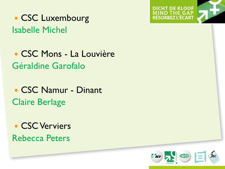 CSC Luxembourg Isabelle Michel. CSC Mons - La Louvière. Géraldine Garofalo. CSC Namur - Dinant. Claire Berlage.