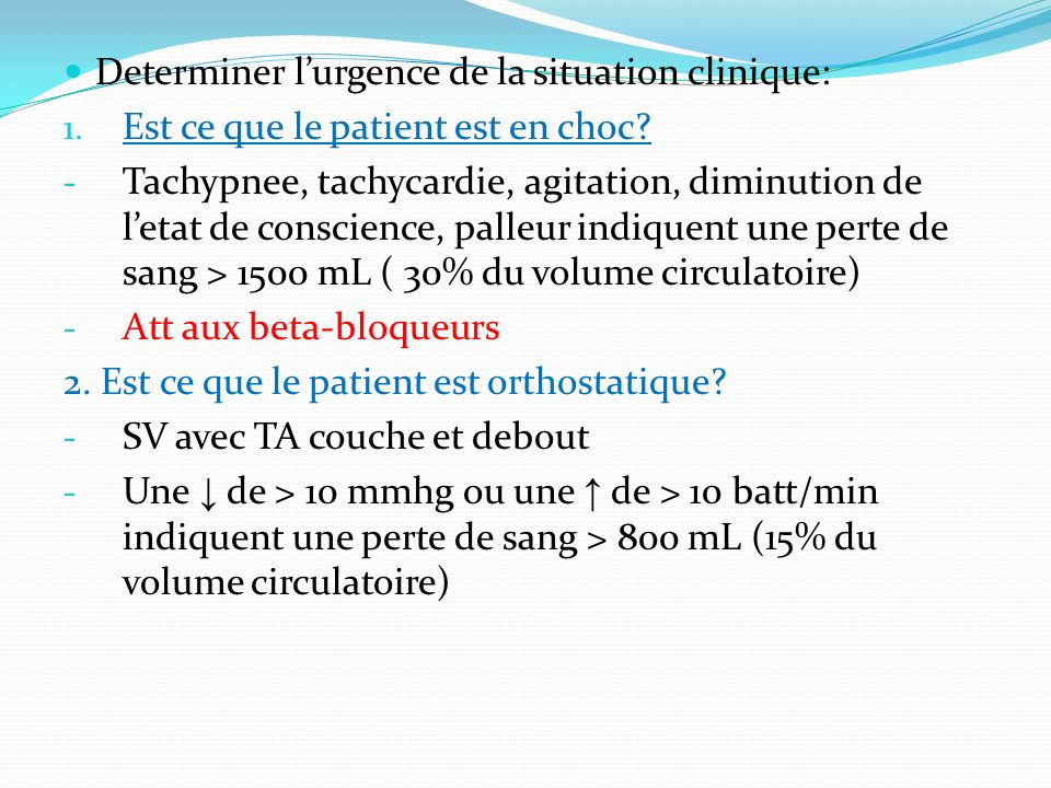 Determiner l'urgence de la situation clinique: