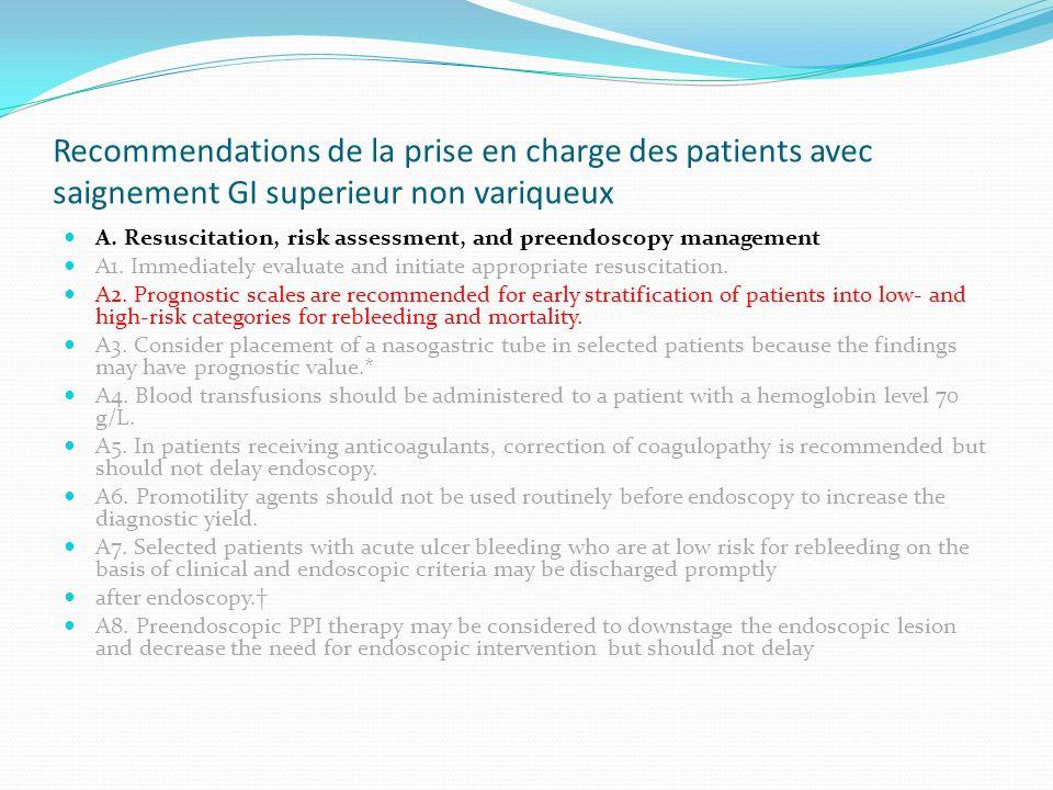 Recommendations de la prise en charge des patients avec saignement GI superieur non variqueux