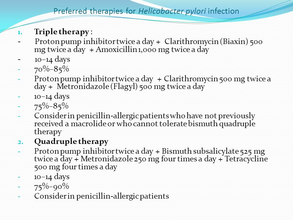 Preferred therapies for Helicobacter pylori infection