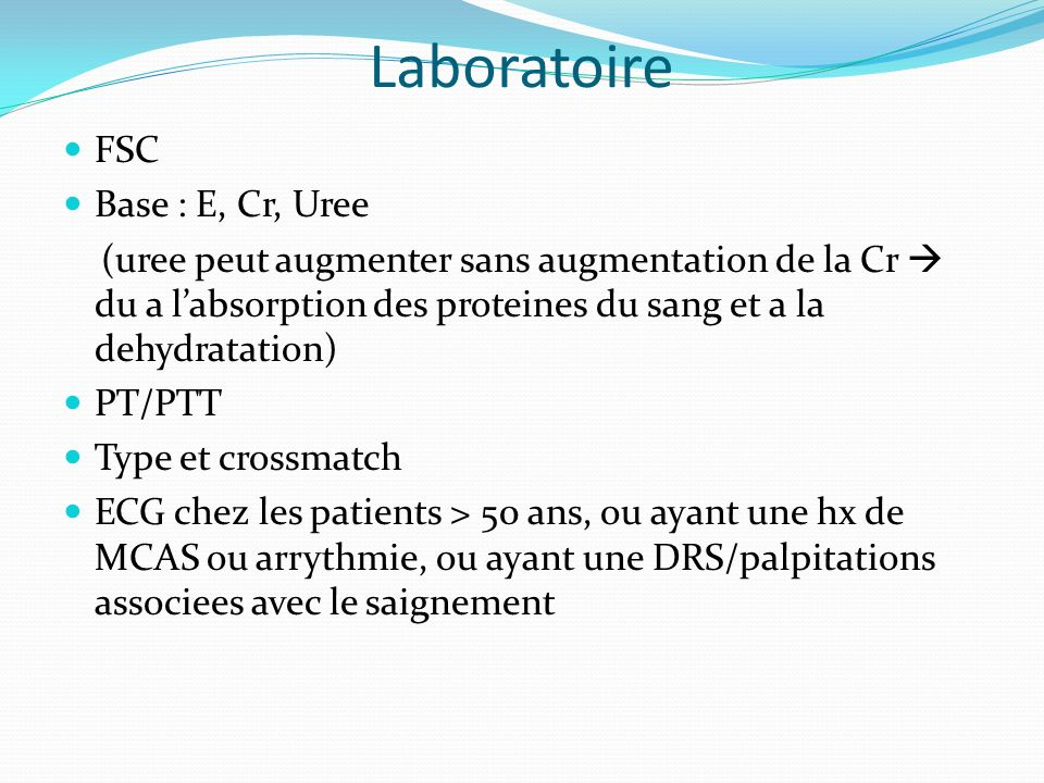 Laboratoire FSC Base : E, Cr, Uree