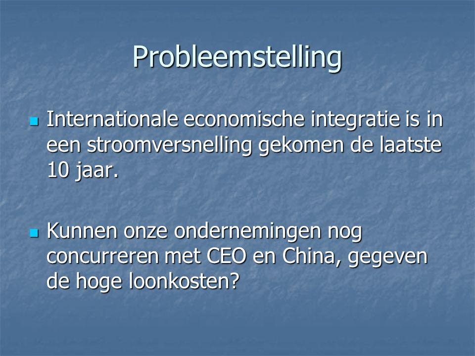 Probleemstelling Internationale economische integratie is in een stroomversnelling gekomen de laatste 10 jaar.