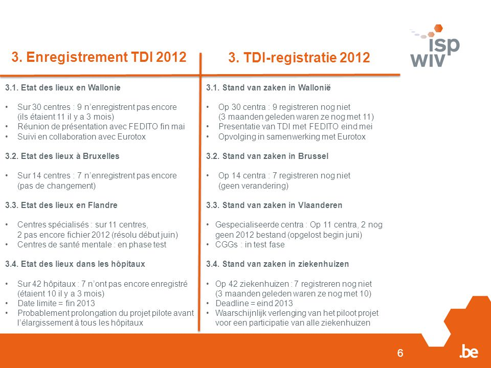 3. Enregistrement TDI 2012 3. TDI-registratie 2012