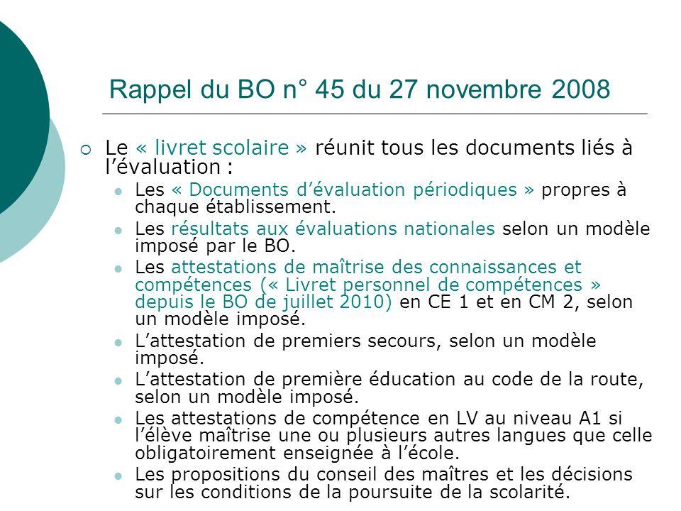 Rappel du BO n° 45 du 27 novembre 2008
