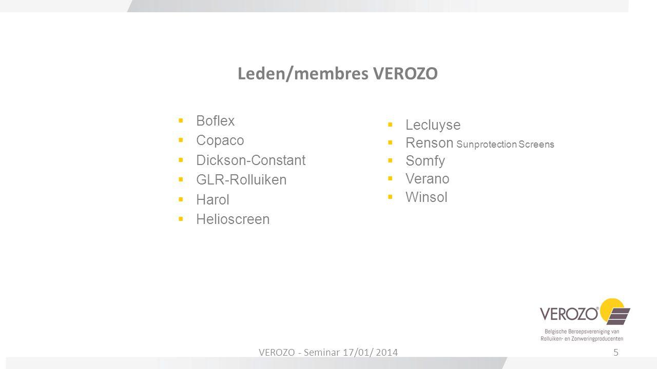 Leden/membres VEROZO Boflex Lecluyse Copaco