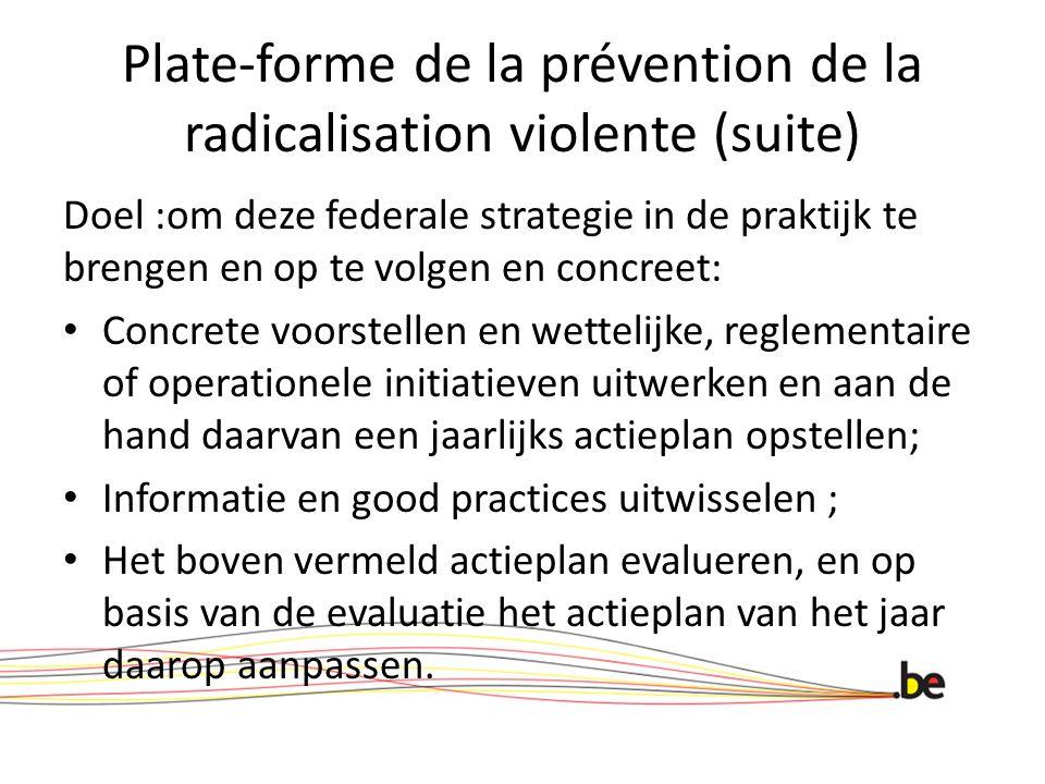 Plate-forme de la prévention de la radicalisation violente (suite)