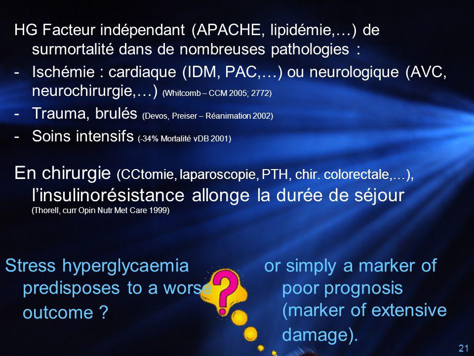 Stress hyperglycaemia predisposes to a worse outcome