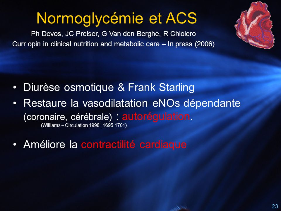 Normoglycémie et ACS Diurèse osmotique & Frank Starling