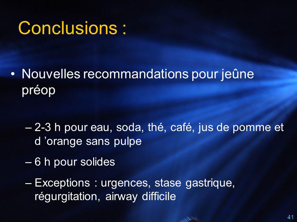 Conclusions : Nouvelles recommandations pour jeûne préop