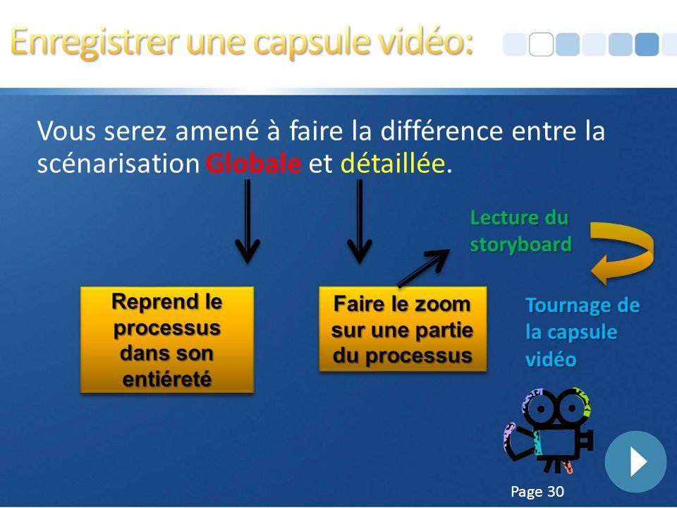Enregistrer une capsule vidéo: