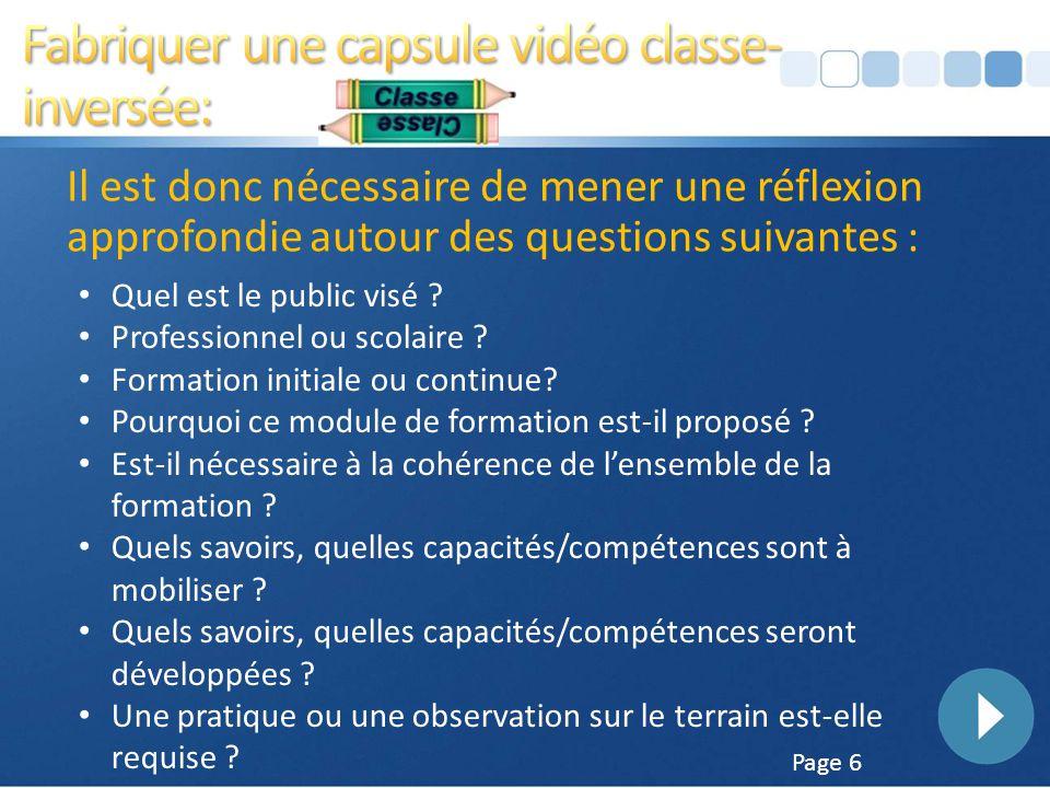 Fabriquer une capsule vidéo classe-inversée:
