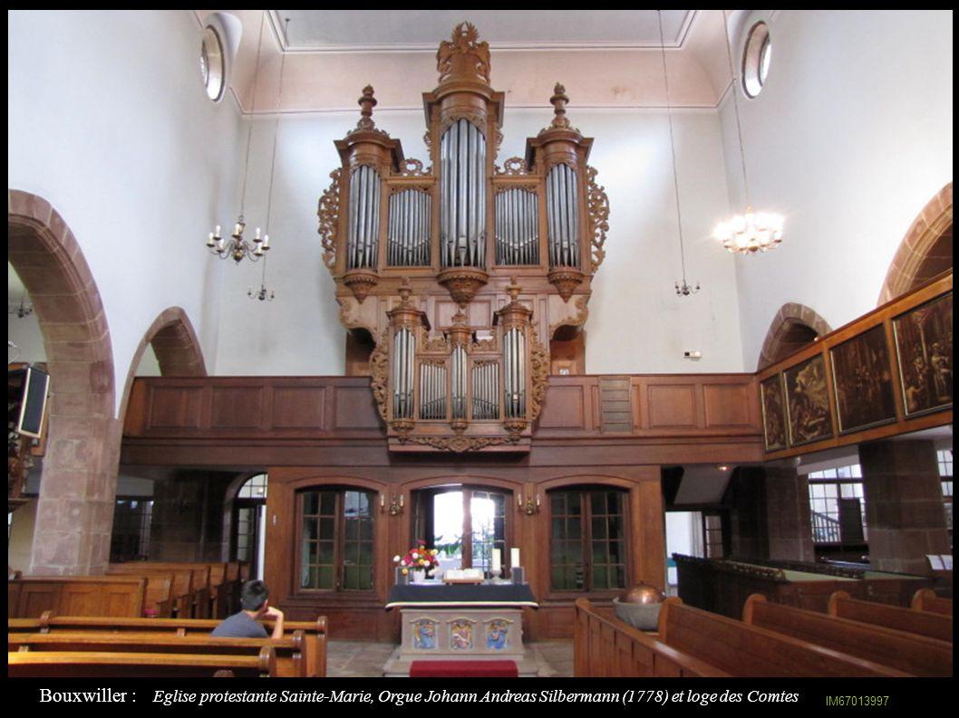 Bouxwiller : Eglise protestante Sainte-Marie, Orgue Johann Andreas Silbermann (1778) et loge des Comtes