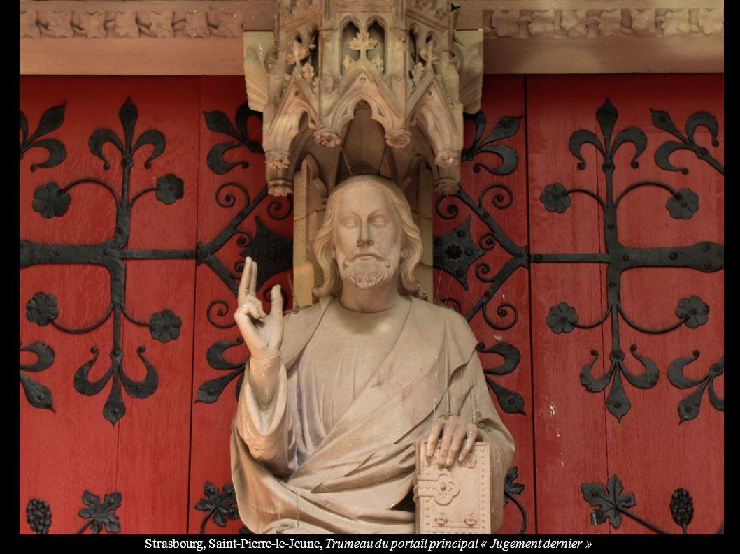 Strasbourg, Saint-Pierre-le-Jeune, Trumeau du portail principal « Jugement dernier »