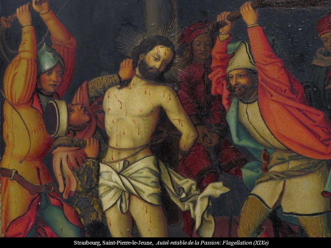 Strasbourg, Saint-Pierre-le-Jeune, Autel-retable de la Passion: Flagellation (XIXe)