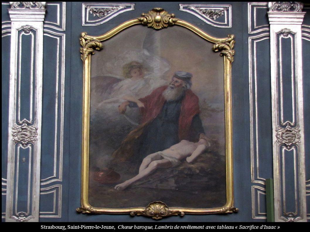 Strasbourg, Saint-Pierre-le-Jeune, Chœur baroque, Lambris de revêtement avec tableau « Sacrifice d Isaac »