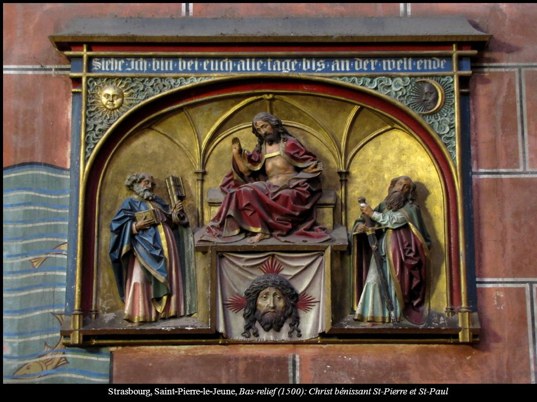Strasbourg, Saint-Pierre-le-Jeune, Bas-relief (1500): Christ bénissant St-Pierre et St-Paul