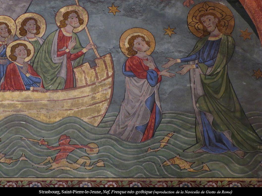 Strasbourg, Saint-Pierre-le-Jeune, Nef, Fresque néo-gothique (reproduction de la Navicella de Giotto de Rome)