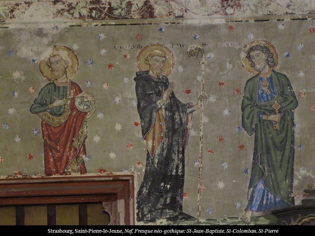 Strasbourg, Saint-Pierre-le-Jeune, Nef, Fresque néo-gothique: St-Jean-Baptiste, St-Colomban, St-Pierre