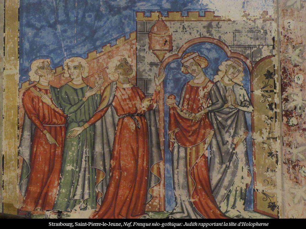 Strasbourg, Saint-Pierre-le-Jeune, Nef, Fresque néo-gothique: Judith rapportant la tête d Holopherne