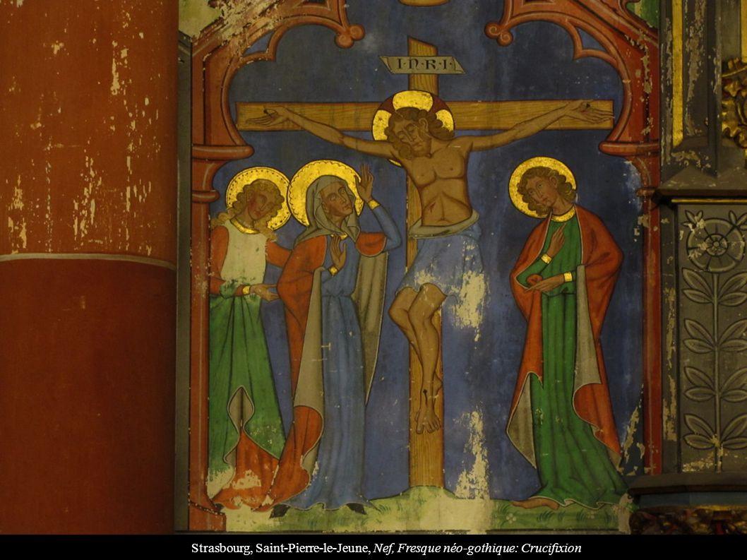 Strasbourg, Saint-Pierre-le-Jeune, Nef, Fresque néo-gothique: Crucifixion